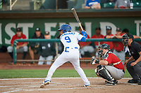 Kenneth Betancourt (9) of the Ogden Raptors bats against the Great Falls Voyagers at Lindquist Field on August 22, 2018 in Ogden, Utah. Great Falls defeated Ogden 3-1. (Stephen Smith/Four Seam Images)