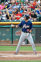 Mike Freeman (12) of the Reno Aces at bat against the Salt Lake Bees in Pacific Coast League action at Smith's Ballpark on July 24, 2014 in Salt Lake City, Utah.  (Stephen Smith/Four Seam Images)