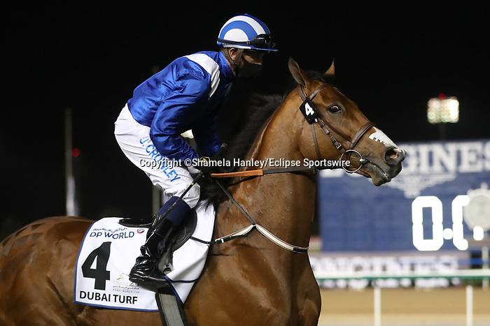 March 27, 2021: EQUITRAAN (IRE), #4 in the post parade for the Dubai Turf on Dubai World Cup Day, Meydan Racecourse, Dubai, UAE. Shamela Hanley/Eclipse Sportswire/CSM