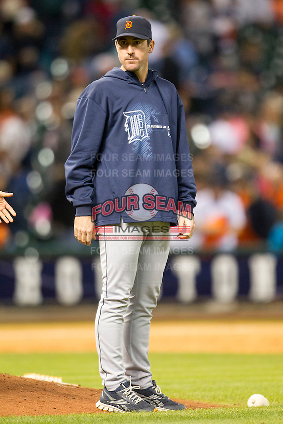 Detroit Tigers pitcher Justin Verlander after the MLB baseball game against the Houston Astros on May 3, 2013 at Minute Maid Park in Houston, Texas. Detroit defeated Houston 4-3. (Andrew Woolley/Four Seam Images).