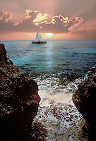 Caribbean Sunset and sailboat in West Indies, seascape, boat, boats. Jamaica Negril.