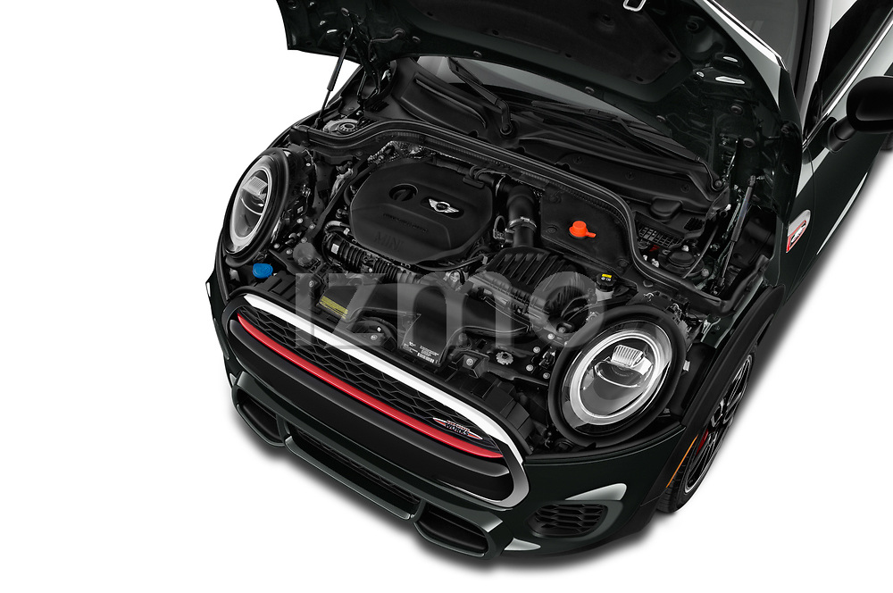 Car Stock 2019 MINI Cooper John-Cooper-Works-Hardtop Door Hatchback Engine  high angle detail view