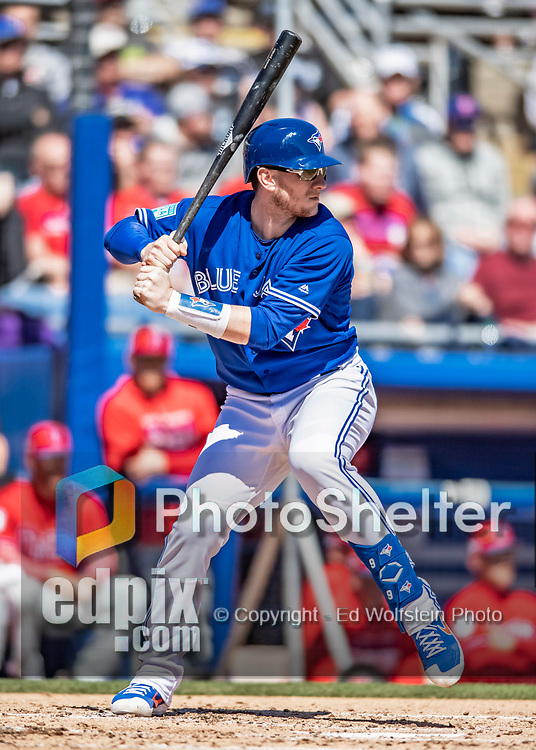 6 March 2019: Toronto Blue Jays top prospect catcher Cavan Biggio at bat during a Spring Training game against the Philadelphia Phillies at Dunedin Stadium in Dunedin, Florida. The Blue Jays defeated the Phillies 9-7 in Grapefruit League play. Mandatory Credit: Ed Wolfstein Photo *** RAW (NEF) Image File Available ***