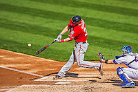20 April 2013: Washington Nationals outfielder Bryce Harper hits a two-run home run in the third inning against the New York Mets at Citi Field in Flushing, NY. Harper went 3 for 3 with 3 RBIs and two home runs as the Nationals defeated the Mets 7-6 to tie their 3-game series at one a piece. Mandatory Credit: Ed Wolfstein Photo *** RAW (NEF) Image File Available ***