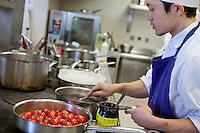 Chef at work in the kitchen of restaurant Mirazur, Menton, France, 18 September 2013