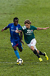 Jaimes McKee of Long Lions (R) fights for the ball with Christian Kwesi of SC Kitchee (L) during the Community Cup match between Kitchee and Eastern Long Lions at Mong Kok Stadium on September 23, 2017 in Hong Kong, China. Photo by Marcio Rodrigo Machado / Power Sport Images