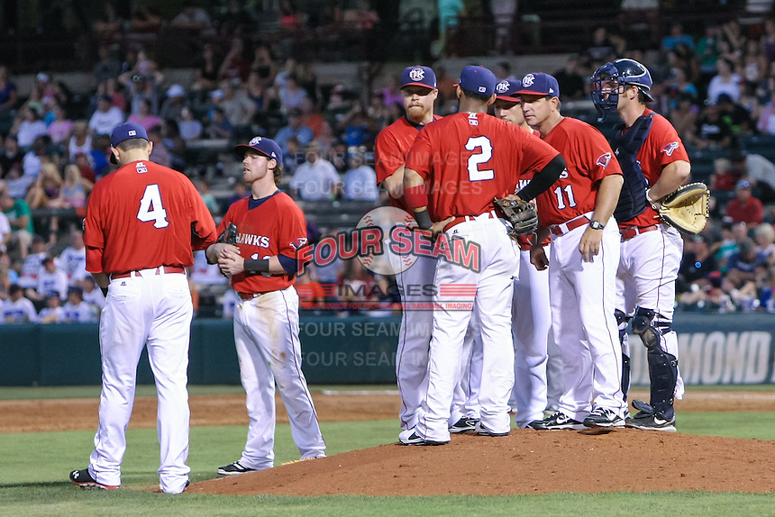 Oklahoma City RedHawks meet on the mound during the Pacific Coast League game against the Round Rock Express at Chickashaw Bricktown Ballpark on June 14, 2013 in Oklahoma City ,Oklahoma.  (William Purnell/Four Seam Images)
