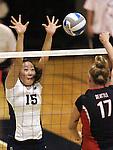 Nevada's Elissa Ji blocks Seattle University hitter Allison Farley during NCAA women's college volleyball in Reno, Nev., on Thursday, Oct. 20, 2011. Nevada won 3-0..Photo by Cathleen Allison