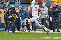 Quadree Henderson (10) returns a punt 75 yards for a touchdown. The Pitt Panthers defeated the Virginia Cavaliers 31-14 at Heinz Field, Pittsburgh, PA on October 28, 2017.