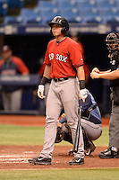 Boston Red Sox outfielder Trenton Kemp (43) during an Instructional League game against the Tampa Bay Rays on September 25, 2014 at Tropicana Field in St. Petersburg, Florida.  (Mike Janes/Four Seam Images)