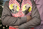 21/03/15 -- Akre, Iraq -- The portrait of Masud Parzani, leader of the KDP Party, is seen on a scarf.