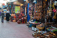 Essaouira, Morocco.  Shops Selling Sandals, Leather Goods, and Souvenirs.