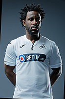Pictured: Wilfried Bony. Thursday 29 August 2018<br />Re: Swansea City FC player and staff profile photo-shoot at Fairwood Training Ground, Wales, UK