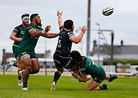 4th June 2021; Galway Sportsgrounds, Galway, Connacht, Ireland; Rainbow Cup Rugby, Connacht versus Ospreys; Alex Wootton (Connacht) stops Dan Evans (Ospreys) advancing