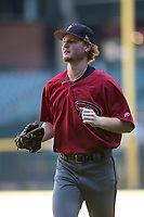 Arizona Diamondbacks first baseman Pavin Smith (35) jogs towards the dugout between innings of an Instructional League game against the Kansas City Royals at Chase Field on October 14, 2017 in Phoenix, Arizona. (Zachary Lucy/Four Seam Images)