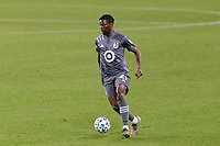 ST PAUL, MN - NOVEMBER 4: Bakaye Dibassy #21 of Minnesota United FC controls the ball during a game between Chicago Fire and Minnesota United FC at Allianz Field on November 4, 2020 in St Paul, Minnesota.