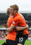 Dundee United v St Johnstone...24.08.13      SPFL<br /> Stuart Armstrong celebrates his goal with Gary Mackay-Steven<br /> Picture by Graeme Hart.<br /> Copyright Perthshire Picture Agency<br /> Tel: 01738 623350  Mobile: 07990 594431
