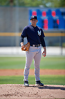 New York Yankees pitcher Dalton Lehnen (39) during a Minor League Spring Training game against the Toronto Blue Jays on March 18, 2018 at Englebert Complex in Dunedin, Florida.  (Mike Janes/Four Seam Images)