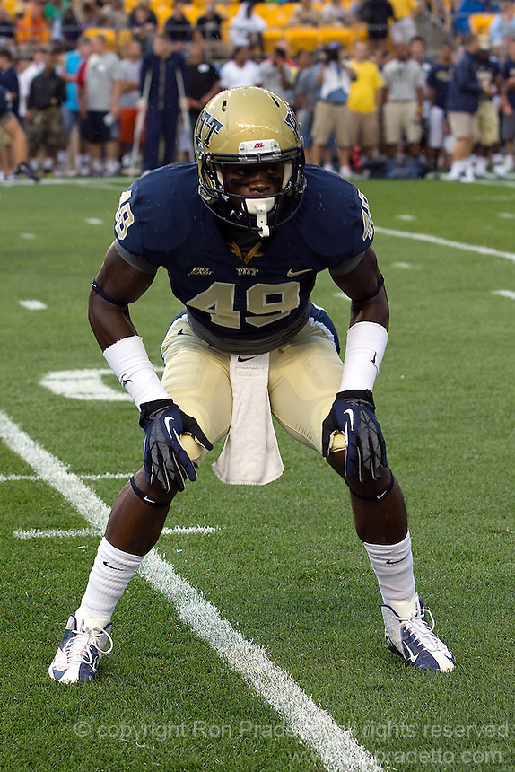 Pittsburgh Panthers Linebacker Eric Williams. The Youngstown St. Penguins defeated the Pitt Panthers 31-17 on Saturday, September 1, 2012 at Heinz Field in Pittsburgh, PA.