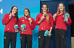 Wales Georgia Davies, Chloe Tutton & Alys Thomas & Kathryn Greenslade celebrate winning bronze in the Woman's 4x100 medley<br /> <br /> *This image must be credited to Ian Cook Sportingwales and can only be used in conjunction with this event only*<br /> <br /> 21st Commonwealth Games - Swimming -  Day 6 - 10\04\2018 - Gold Coast Optus Aquatic centre - Gold Coast City - Australia