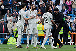 Real Madrid's (L-R) Marco Asensio, Karim Benzema and Marcelo Vieira celebrate the victory during La Liga match between Real Madrid and Athletic Club de Bilbao at Santiago Bernabeu Stadium in Madrid, Spain. April 21, 2019. (ALTERPHOTOS/A. Perez Meca)