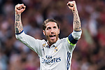 Sergio Ramos of Real Madrid celebrates winning after their 2016-17 UEFA Champions League Quarter-finals second leg match between Real Madrid and FC Bayern Munich at the Estadio Santiago Bernabeu on 18 April 2017 in Madrid, Spain. Photo by Diego Gonzalez Souto / Power Sport Images