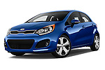 Stock pictures of low aggressive front three quarter view of 2015 KIA Rio AT SX 5 Door Hatchback 2WD Low Aggressive