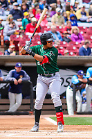 Great Lakes Loons outfielder Romer Cuadrado (25) at bat during a Midwest League game against the Wisconsin Timber Rattlers on May 12, 2018 at Fox Cities Stadium in Appleton, Wisconsin. Wisconsin defeated Great Lakes 3-1. (Brad Krause/Four Seam Images)