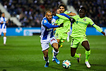 Martin Braithwaite of CD Leganes and Djene Dakoman of Getafe FC during La Liga match between CD Leganes and Getafe CF at Butarque Stadium in Leganes, Spain. January 17, 2020. (ALTERPHOTOS/A. Perez Meca)