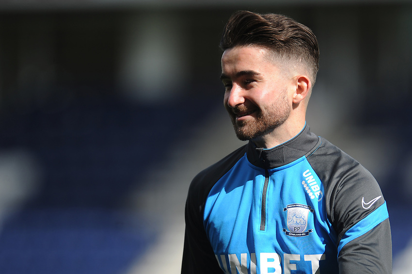 Preston North End's Sean Maguire during the pre-match warm-up <br /> <br /> Photographer Kevin Barnes/CameraSport<br /> <br /> The EFL Sky Bet Championship - Preston North End v Swansea City - Saturday September 12th 2020 - Deepdale - Preston<br /> <br /> World Copyright © 2020 CameraSport. All rights reserved. 43 Linden Ave. Countesthorpe. Leicester. England. LE8 5PG - Tel: +44 (0) 116 277 4147 - admin@camerasport.com - www.camerasport.com