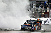 2017 NASCAR Camping World Truck Series - Active Pest Control 200<br /> Atlanta Motor Speedway, Hampton, GA USA<br /> Saturday 4 March 2017<br /> Christopher Bell celebrates his win with a burnout.<br /> World Copyright: Nigel Kinrade/LAT Images<br /> ref: Digital Image 17ATL1nk06671