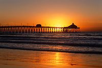 Imperial Beach Pier at Sunset, San Diego, California, CA, America, USA.