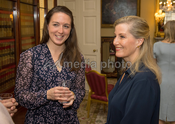 12 March 2018 - Sophie Countess of Wessex meets expedition member Lieutenant Jenni Stephenson during a reception at Buckingham Palace in London for the Ice Maidens, the first all female team to ski coast to coast across Antarctica. Photo Credit: ALPR/AdMedia
