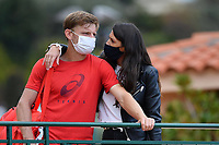 13th April 2021; Roquebrune-Cap-Martin, France;  David Goffin and his wife Stephanie Tuccitto during the  Rolex Monte Carlo Masters