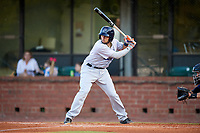Pensacola Blue Wahoos catcher Adrian Nieto (17) at bat during a game against the Mobile BayBears on April 25, 2017 at Hank Aaron Stadium in Mobile, Alabama.  Mobile defeated Pensacola 3-0.  (Mike Janes/Four Seam Images)