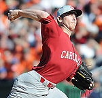 South Carolina RHP Sam Dyson (20) throws during a game between the Clemson Tigers and South Carolina Gamecocks Saturday, March 6, 2010, at Fluor Field at the West End in Greenville, S.C. Dyson, ranked the No. 27 junior draft prospect by Baseball America, was the Gamecocks' starting pitcher. Photo by: Tom Priddy/Four Seam Images