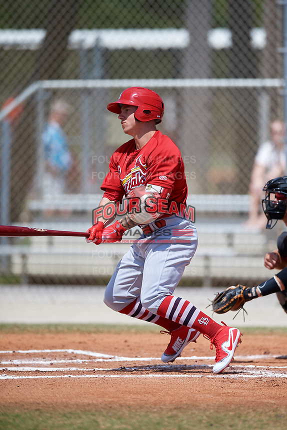 St. Louis Cardinals Tyler O'Neill (5) during a Minor League Spring Training game against the Miami Marlins on March 26, 2018 at the Roger Dean Stadium Complex in Jupiter, Florida.  (Mike Janes/Four Seam Images)