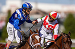 APRIL 30, 2021:  Irad Ortiz Jr. aboard Search Results congratulates John Velazquez aboard Malathaat after thrilling stretch battle in the Kentucky Oaks at Churchill Downs in Louisville, Kentucky on April 30, 2021. EversEclipse Sportswire/CSM