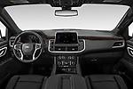Stock photo of straight dashboard view of 2021 Chevrolet Tahoe LT 5 Door SUV Dashboard