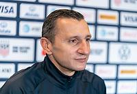 BREDA, NETHERLANDS - NOVEMBER 27: Vlatko Andonovski of the USWNT talks to the media via Zoom after a game between Netherlands and USWNT at Rat Verlegh Stadion on November 27, 2020 in Breda, Netherlands.