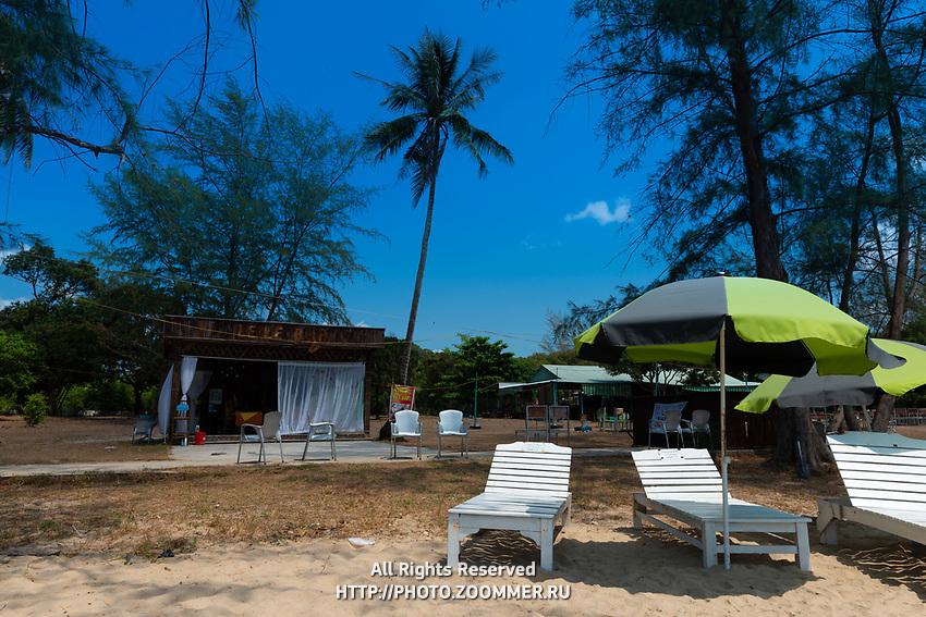 Wooden beach beds near Le Le Bar on Ong Lang beach, Phuquoc, Vietnam