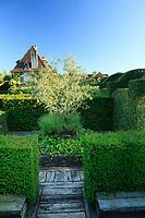 Les jardins du prieuré d'Orsan : clos entouré d'ifs taillés avec au centre un carré bordé de plessis et lierre, lavande et olivier<br /> <br /> Mention obligatoire du nom du jardin et pas d'usage publicitaire sans autorisation préalable.