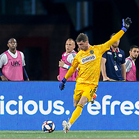 FOXBOROUGH, MA - JUNE 27: Matt Freese #1 clears the ball during a game between Philadelphia Union and New England Revolution at Gillette Stadium on June 27, 2019 in Foxborough, Massachusetts.