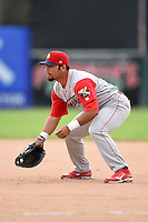 Williamsport Crosscutters first baseman Wilmer Oberto (22) during the second game of a doubleheader against the Batavia Muckdogs on July 29, 2014 at Dwyer Stadium in Batavia, New York.  Batavia defeated Williamsport 1-0 in 11 innings.  (Mike Janes/Four Seam Images)