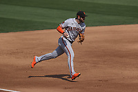 OAKLAND, CA - SEPTEMBER 20:  Evan Longoria #10 of the San Francisco Giants makes a play at third base against the Oakland Athletics during the game at the Oakland Coliseum on Sunday, September 20, 2020 in Oakland, California. (Photo by Brad Mangin)
