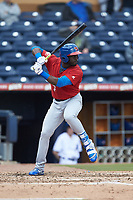 Anthony Alford (7) of the Buffalo Bison at bat against the Durham Bulls at Durham Bulls Athletic Park on April 25, 2018 in Allentown, Pennsylvania.  The Bison defeated the Bulls 5-2.  (Brian Westerholt/Four Seam Images)
