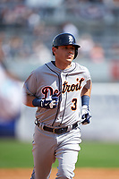 Detroit Tigers second baseman Ian Kinsler (3) runs the bases after hitting a home run during a Spring Training game against the New York Yankees on March 2, 2016 at George M. Steinbrenner Field in Tampa, Florida.  New York defeated Detroit 10-9.  (Mike Janes/Four Seam Images)