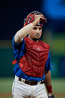 Clearwater Threshers catcher Edgar Cabral (30) during a game against the St. Lucie Mets on August 11, 2018 at Spectrum Field in Clearwater, Florida.  St. Lucie defeated Clearwater 11-0.  (Mike Janes/Four Seam Images)