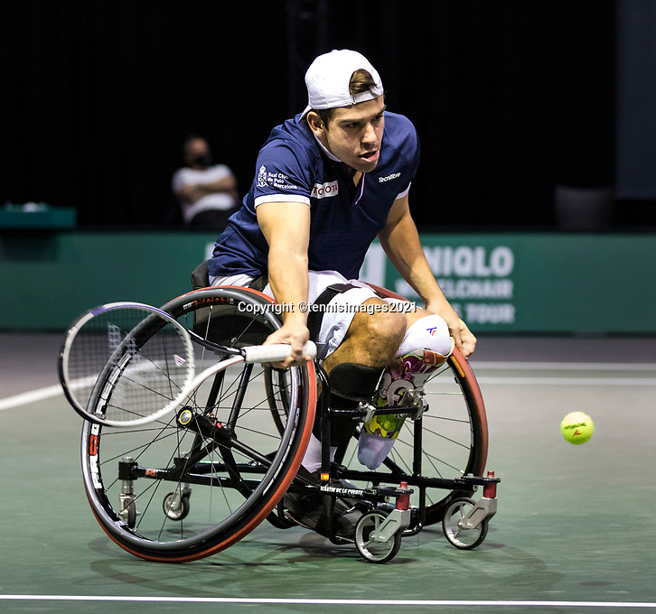 Rotterdam, The Netherlands, 5 march  2021, ABNAMRO World Tennis Tournament, Ahoy,  Second round wheelchair: Martin de la Puente (ESP).<br /> Photo: www.tennisimages.com/