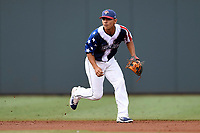 Shortstop Andres Gimenez (13) of the Columbia Fireflies plays defense in a game against the Rome Braves on Monday, July 3, 2017, at Spirit Communications Park in Columbia, South Carolina. Columbia won, 1-0. (Tom Priddy/Four Seam Images)
